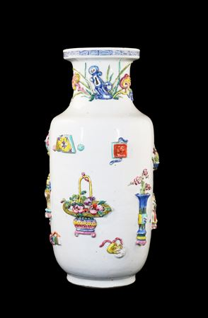 Chinese Porcelain Famille Rose Rouleau Vase with Appliqué decoration