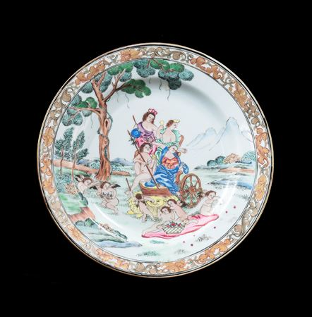 Chinese export porcelain famille rose dinner plate with European subject design, Earth after Albani