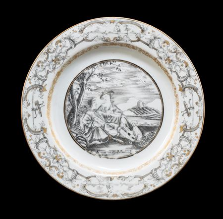 Chinese export porcelain dinner plate with a European subject scene en grisaille