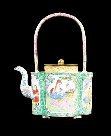 Chinese Painted enamel on Copper Wine Ewer