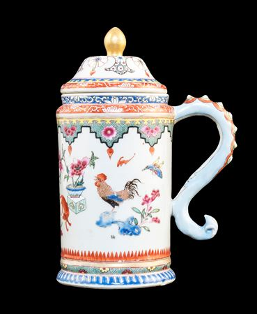 Chinese export porcelain famille rose covered tankard