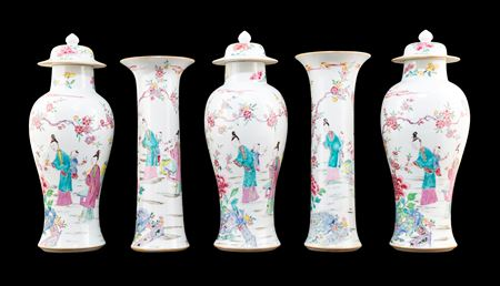 Chinese export porcelain famille rose tall garniture