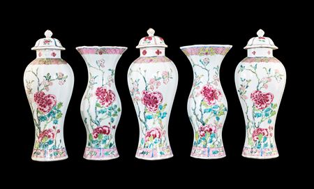 Chinese export porcelain famille rose garniture of lobed forms