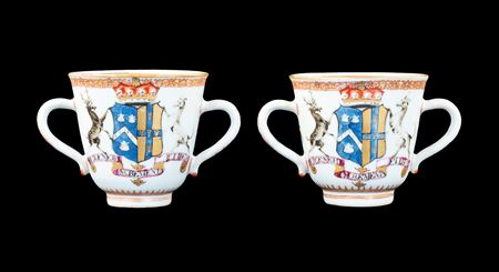 GG: Pair of Chinese export armorial two handled cups, arms of Townsend impaling Harrison
