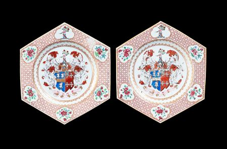 GG: Pair of Chinese export armorial dinner plates, arms of Jephson impaling Chase