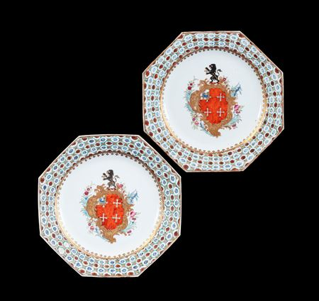 GG: Pair of Chinese export armorial dinner plates, arms of Chase