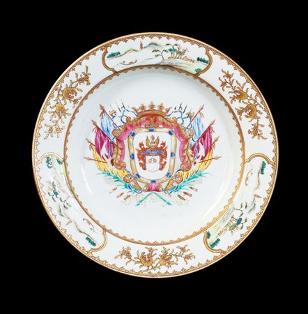 GG: Chinese armorial porcelain soup plate with Dutch arms, possibly ver Huell