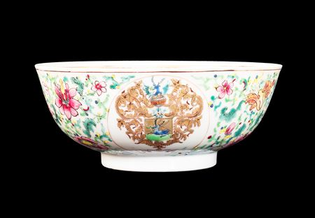 GG: Chinese armorial eggshell porcelain small bowl, Dutch arms of Balthasar Scott