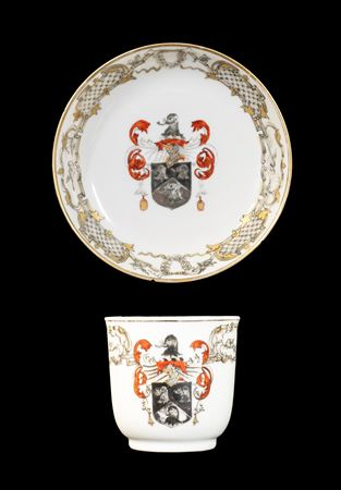 GG:  Chinese armorial porcelain cup and saucer, arms of Saunders