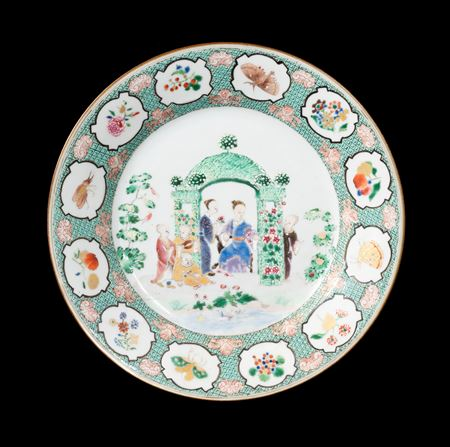 GG: Chinese export porcelain famille rose dinner plate with the Pronk Arbour pattern