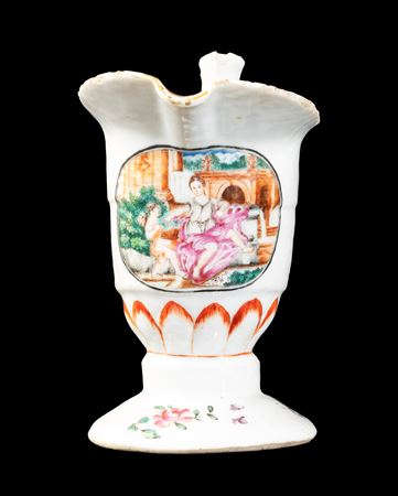 GG: Chinese export porcelain famille rose 'helmet' jug with European Subject design of Flora and Cupid