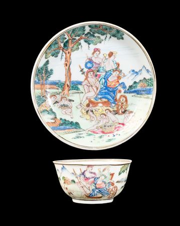 GG: Chinese eggshell porcelain famille rose teabowl and saucer with a mythological subject after Albani