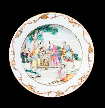 GG: Chinese export porcelain famille rose dinner plate with Rebecca at the Well