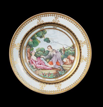 GG: Chinese export porcelain famille rose dinner pate with European subject after Vleughels