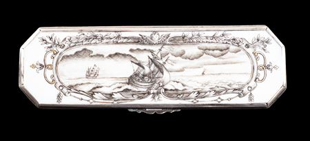 Chinese export porcelain pen box (qalamdan) painted en grisaille and famille rose
