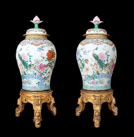 Pair of Magnificent Chinese porcelain famille rose vases and covers with lotus form knops