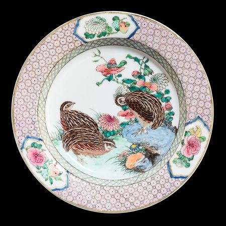 Chinese eggshell porcelain famille rose dish with quail