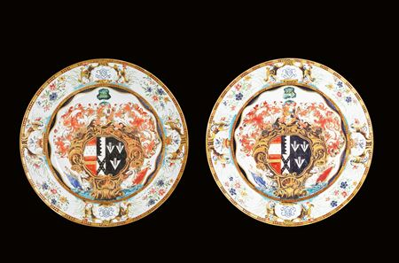 Pair of Chinese armorial porcelain chargers with the arms of Okeover