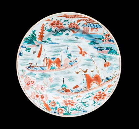 Chinese porcelain dinner plate with famille rose river scene