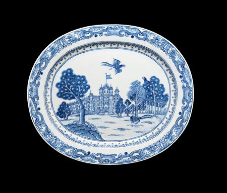 Chinese blue and white porcelain meat dish showing Burghley House
