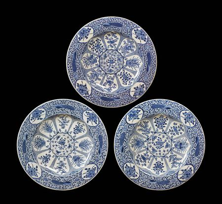 Three Massive Chinese export porcelain blue and white chargers