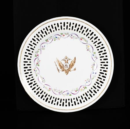 Chinese export armorial porcelain reticulated fruit plate, arms of catherine the great of russia