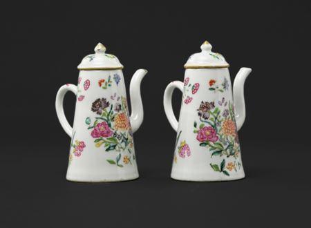 pair of miniature chocolate pots