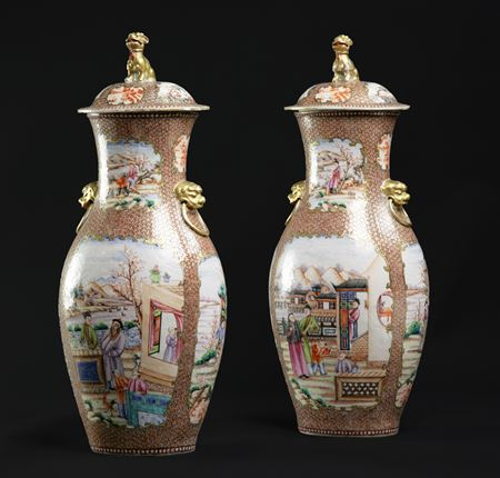 pair of chinese export porcelain famille rose vases and covers