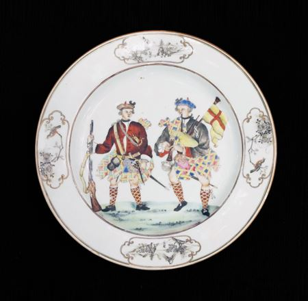 sold: chinese export porcelain plate with two scotsmen