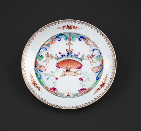 Chinese export porcelain pseudo armorial plate