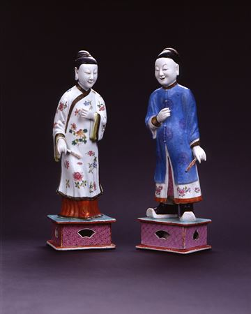 PAIR OF FAMILLE ROSE FIGURES OF MAN & LADY  THESE ARE SOLD