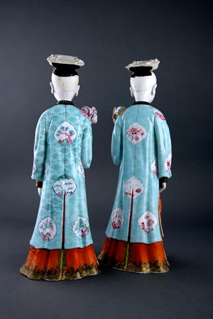 sold -  PAIR OF NODDING HEAD COURT LADIES