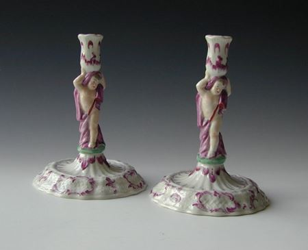 Pair European porcelain candlesticks circa 1770