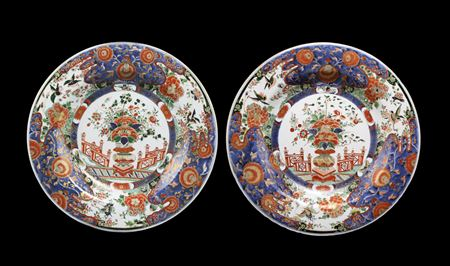 SOLD pair of Chinese export porcelain verte imari chargers