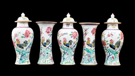 Chinese export porcelain famille rose garniture with roosters