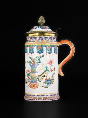 chinese export porcelain famille rose massive tankard and cover