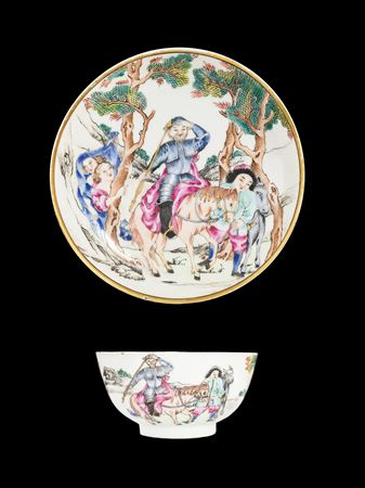 Chinese export porcelain famille rose teabowl and saucer, Don Quixote