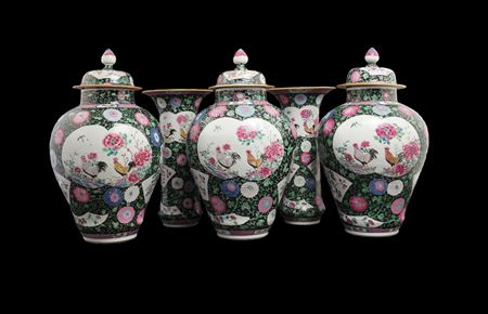 Chinese export porcelain famille rose rooster garniture