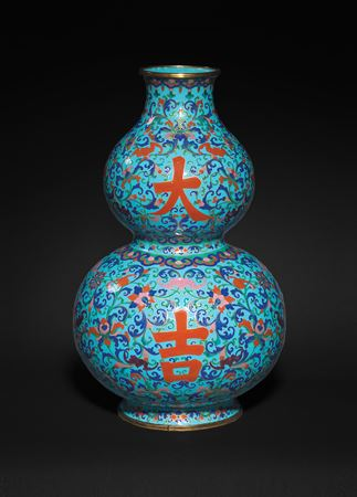 chinese painted enamel on copper imperial tribute vase, canton imperial workshop