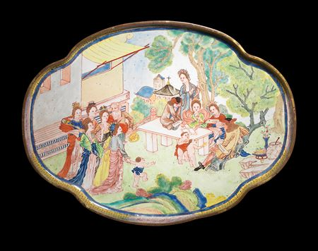 chinese painted enamel on copper tray, european subject, canton imperial workshop