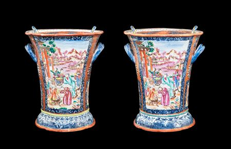 Pair of Chinese export porcelain boughpots with decoration in famille rose and underglaze blue