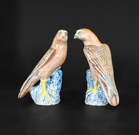 pair of chinese export porcelain famille rose hawks