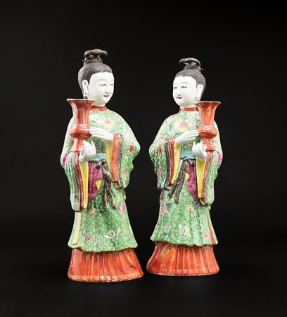Pair of Chinese export porcelain famille rose maiden candlesticks