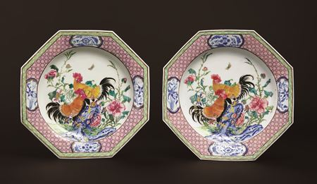 pair of chinese export porcelain famille rose semi-eggshell dinner plates