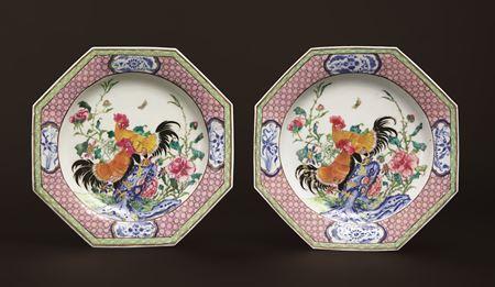 Pair of Chinese export porcelain famille rose semi-eggshell dinner plates