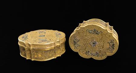 SOLD: pair of chinese silver gilt filigree boxes