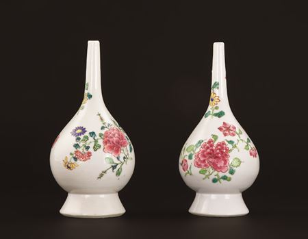 Pair of famille rose chinese export porcelain rose water sprinklers
