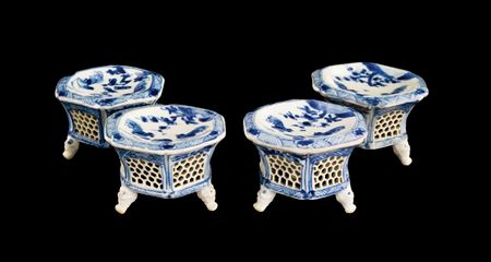 set of four chinese export porcelain blue and white salts